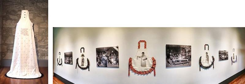 La Reina, 2015, and Homage a las Chili Queens, 2015, installation at Plaza de Armas Gallery. Photo courtesy of Jenelle Esparza.