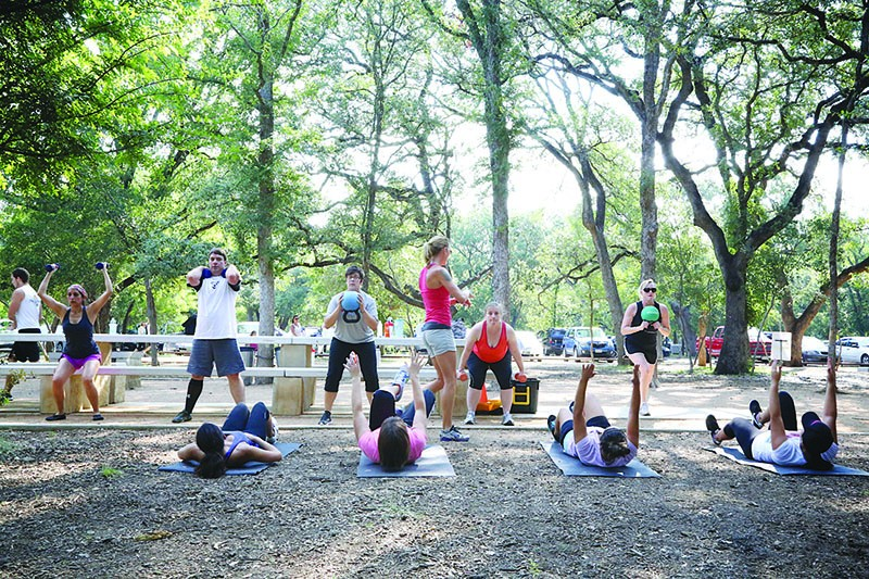 A Fitness in the Park-instructor teaches a boot camp at Phil Hardberger Park. Photo courtesy of Michael Baldwin at the City Parks & Recreation Department.