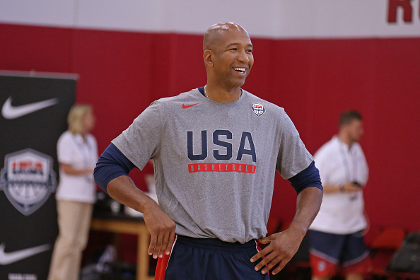 Monty Williams of the USA Men's National Team smiles and coaches during practice on July 19, 2016 at Mendenhall Center on the University of Nevada, Las Vegas campus in Las Vegas, Nevada. Photo by Nathaniel S. Butler/NBAE via Getty Images.