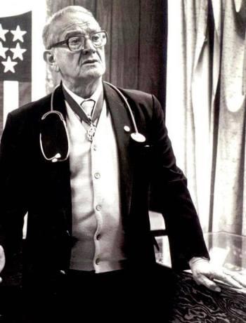 Dr. Héctor P. García wears a stethoscope. Photo courtesy of the Dr. Héctor P. García Memorial Foundation.