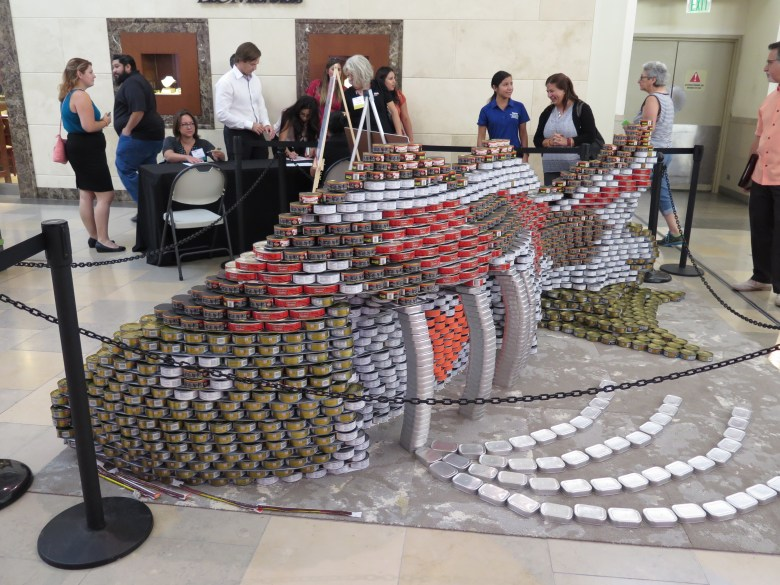 """The Winner of Canstruction 2016. """"PesCANtarian - The Empty Side of Hunger"""" by Alamo Architects and Turner Construction. Photo by James McCandless"""