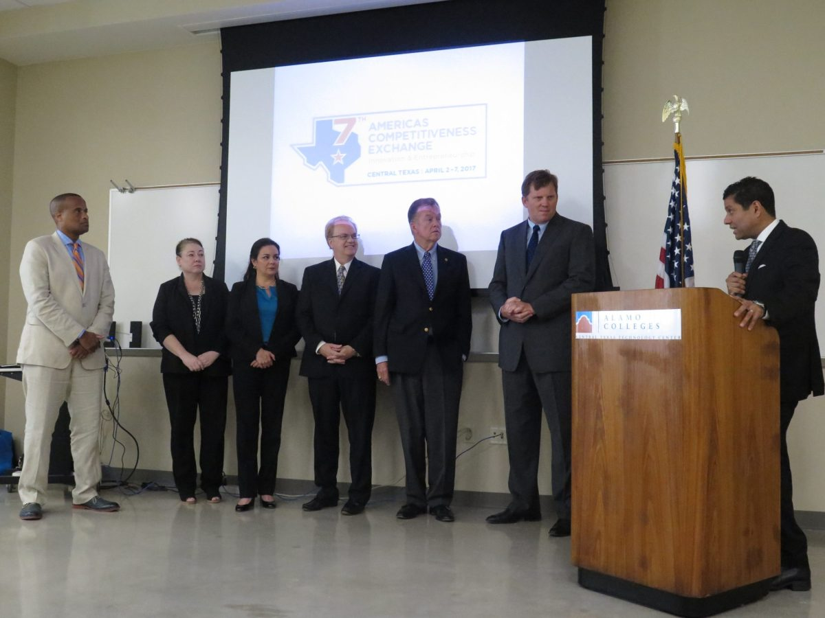Representatives from the Central Texas region officially accept the opportunity to host the third Americas Competitiveness Exchange on Innovation and Entrepreneurship (ACE). Photo by Daniel Kleifgen.