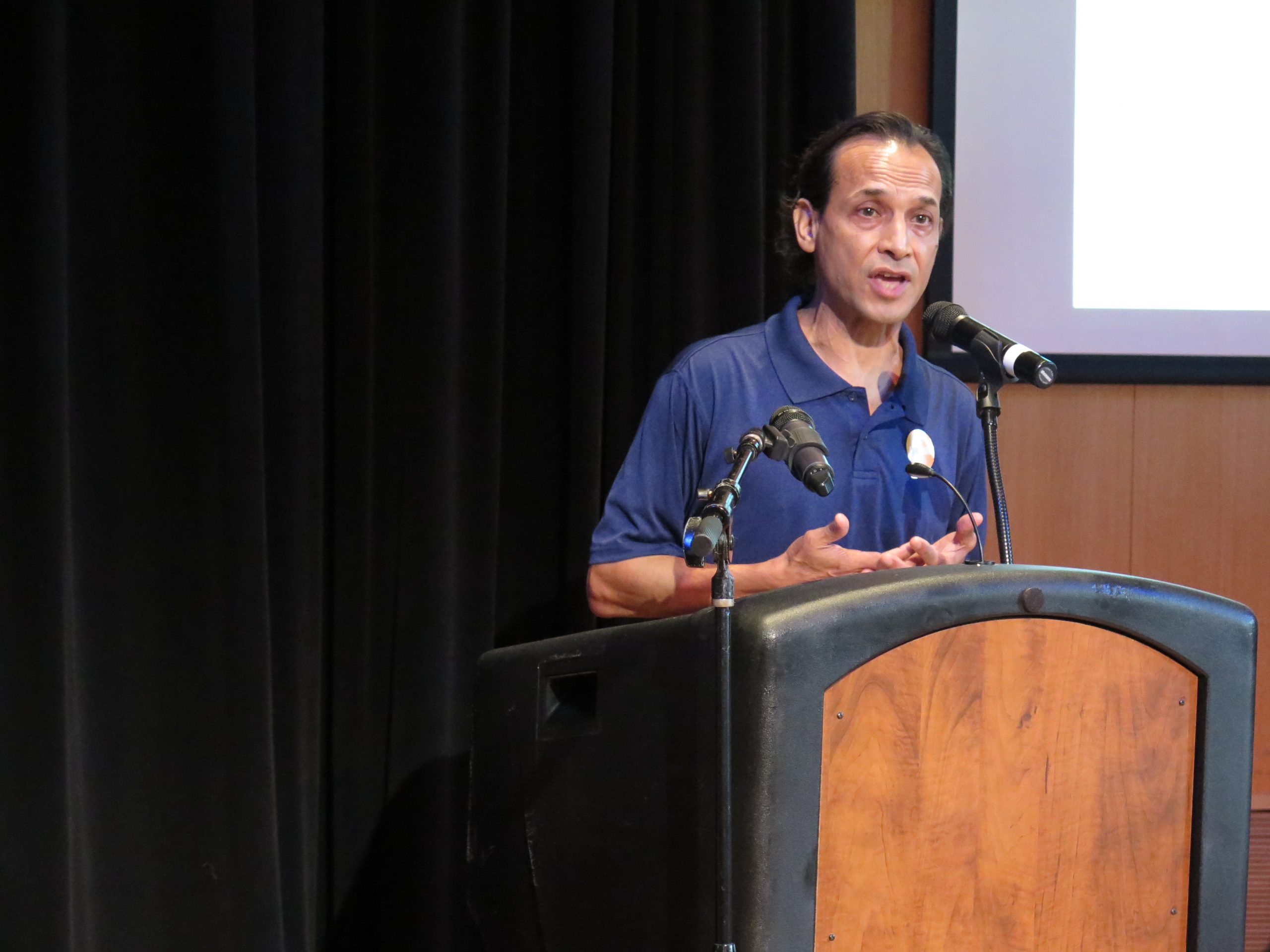 Artist Jesse Borrego talks about the diversity of artists at this year's Luminaria. Photo by Rocío Guenther.
