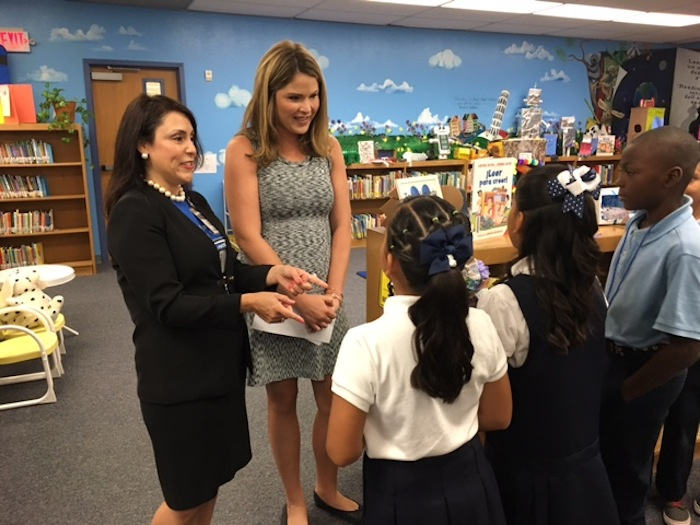 Jenna Bush Hager (center) and Passmore Elementary School Principal Veronica Arteaga chat with students. Photo by Bekah McNeel.