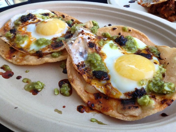 Breakfast Tostadas topped with Humble House hot sauce. Photo courtesy of Humble House.
