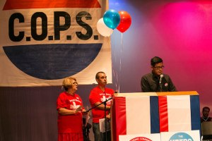 Chris Almendarez of Sacred Heart Church shares his story with the crowd. Photo by Rafael Paz Parra.