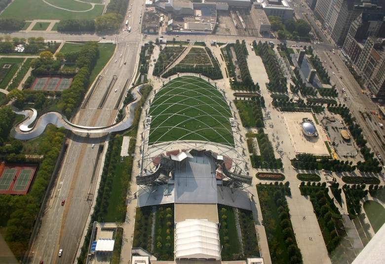 An aerial view of Chicago's Millennium Park. Public domain image.