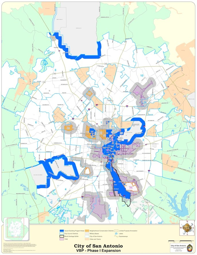 The Vacant Building Ordinance will expand to include the areas marked in blue in this map provided by the City of San Antonio.  Click here to download full size PDF.