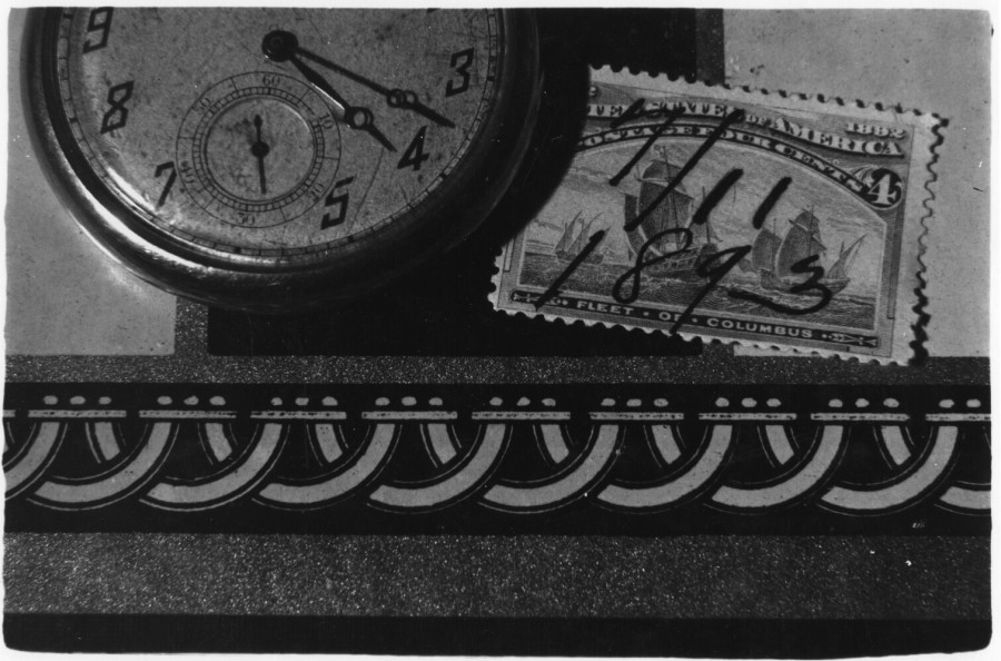Watch and Stamp, c. 1970, gelatin silver print, 5 3/4 x 8 1/2 in. Photo courtesy of the Kent Rush.