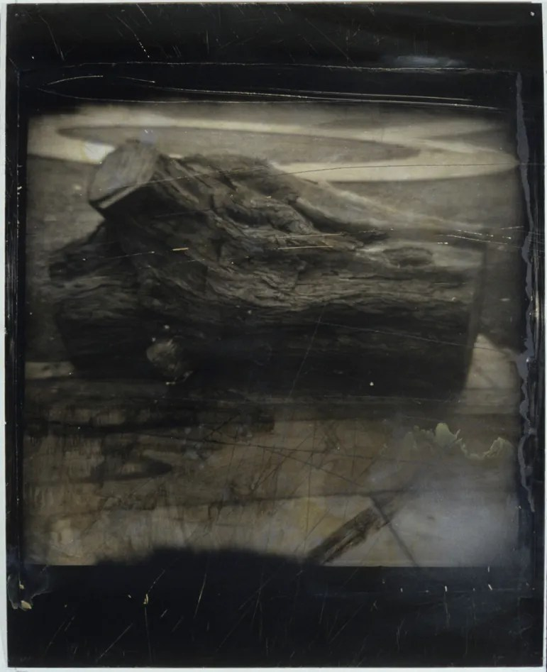 Untitled (Lima Trunk), 1991, gelatin silver print on paper on aluminum sheet with scratches, abrasions, stains and varnish, 60x48 in. Photo courtesy of Kent Rush.