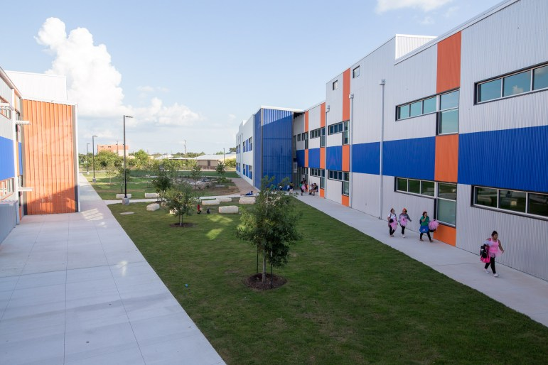 Outdoor paths and green areas make up a large portion of KIPP Cevallos. Photo by Scott Ball.