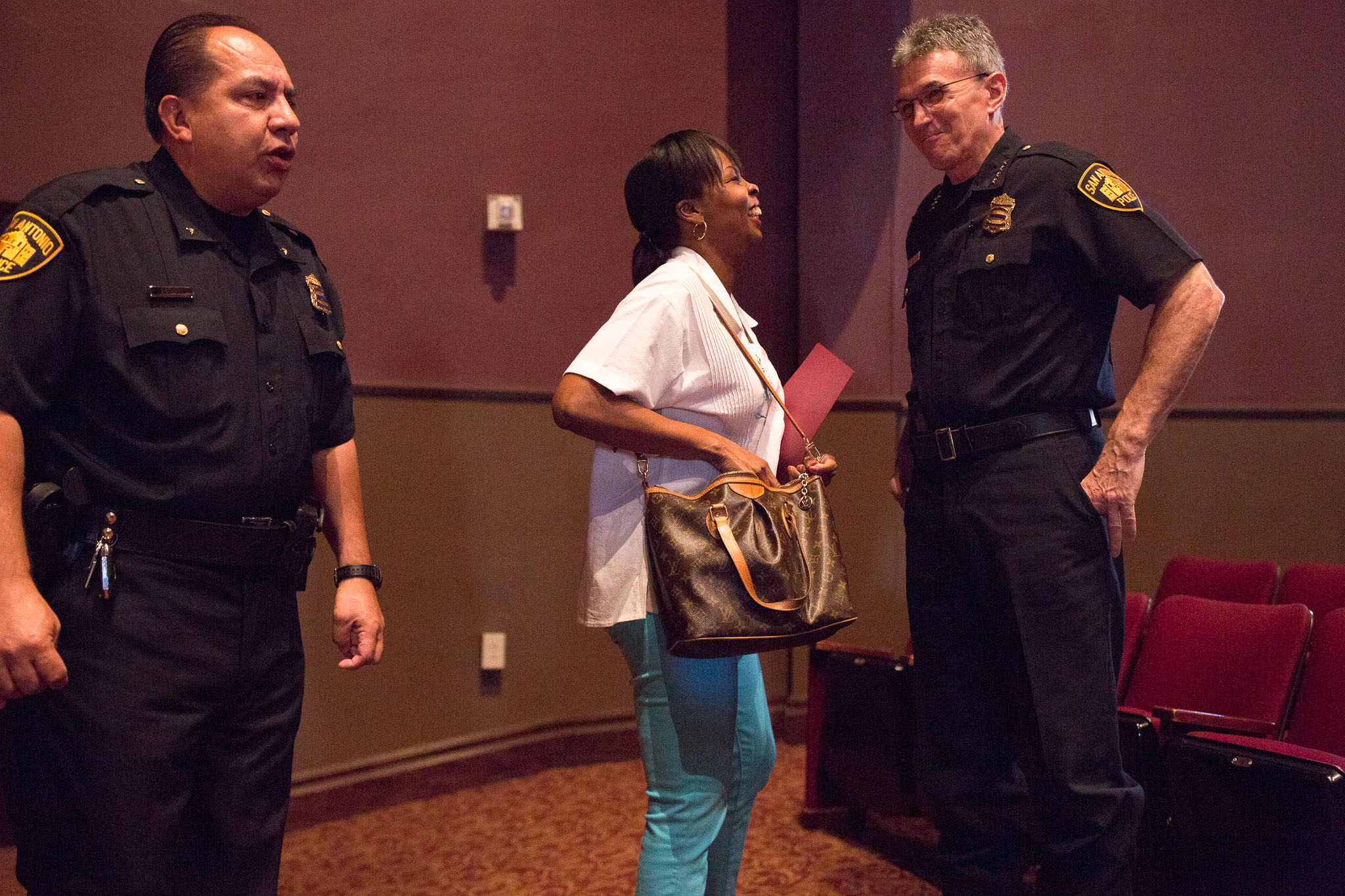 Mayor Ivy Taylor greets San Antonio Police Chief William McManus before presentations begin. Photo by Scott Ball.