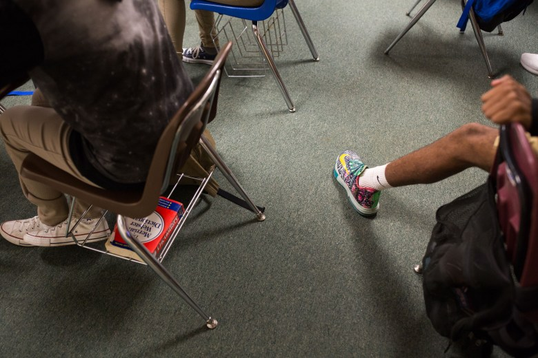 Carpet lines the floor in many classrooms at Lanier High School. Photo by Scott Ball.