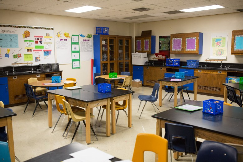 An example of a classroom with no windows and poorly equipped laboratory for science experiments. Photo by Scott Ball.
