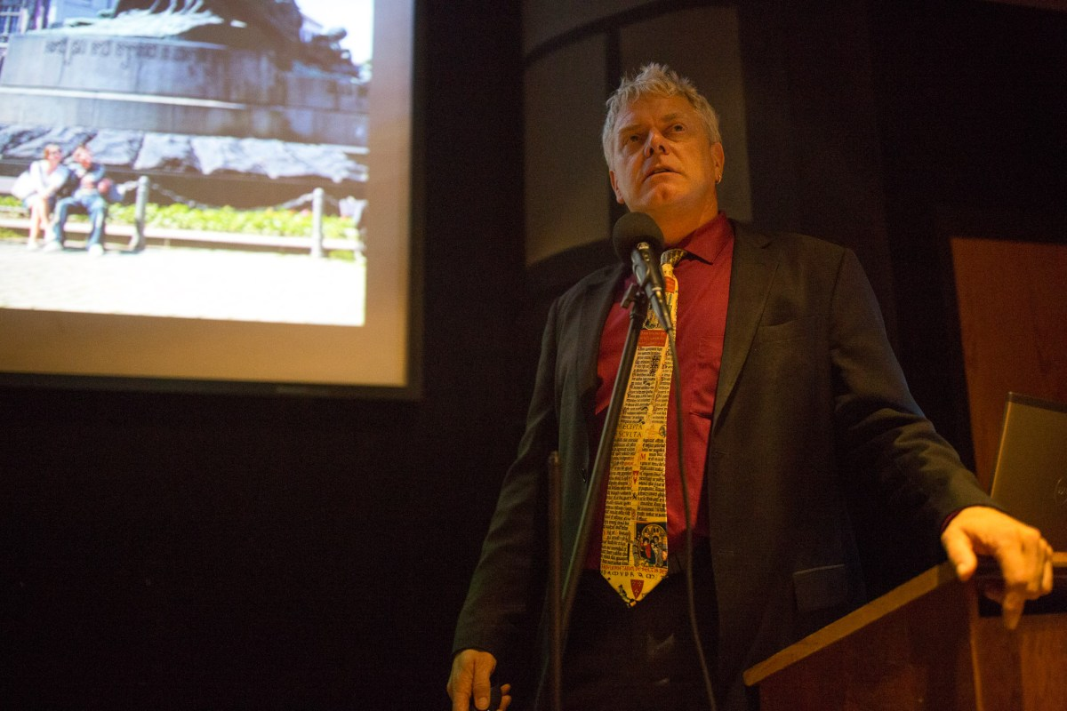 San Antonio Conservation Society Executive Director Vincent Michael gives a presentation on World Heritage at the Mission San José Visitor Center. Photo by Scott Ball.