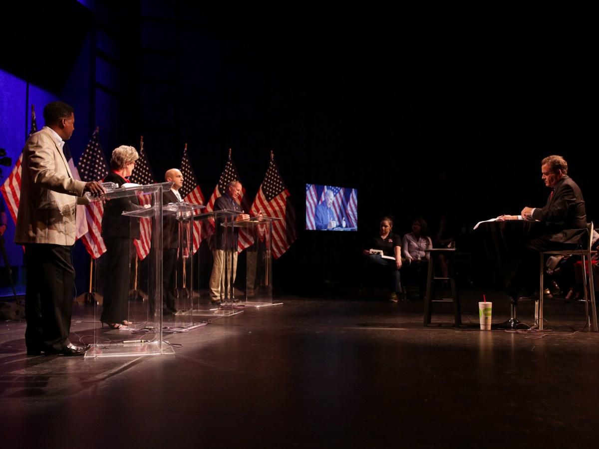 The debate moderator and News 4 San Antonio anchor Randy Beamer. Photo by Scott Ball.