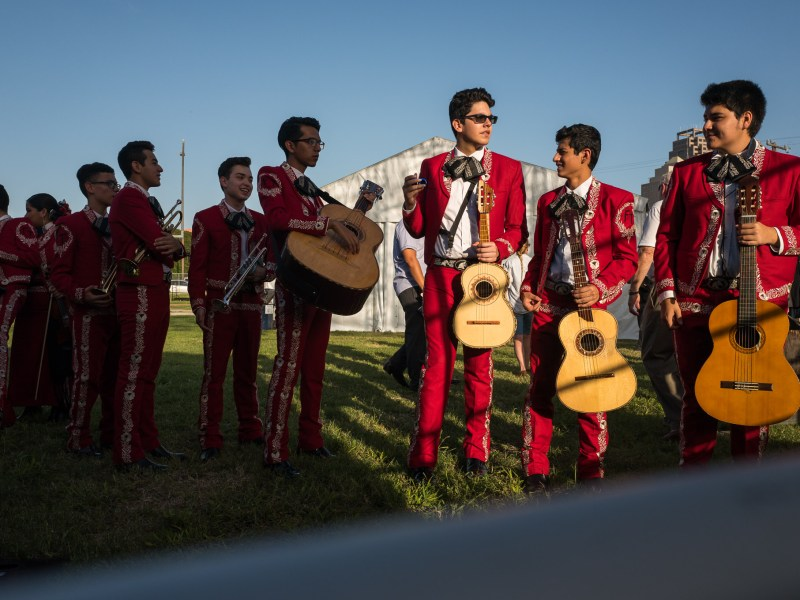 The Fox Tech Mariachi assemble outside the stage with instruments in hand. Photo by Scott Ball.