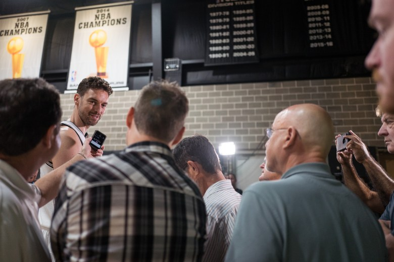 San Antonio Spurs Center Pau Gasol responds to questions from the media. Photo by Scott Ball.