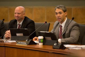 Councilman Ron Nirenberg (D8) speaks to the current state of congestion in Bexar County. Photo by Scott Ball.