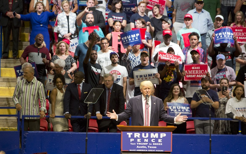 Republican Presidential nominee, Donald Trump speaks at an August 23, 2016 rally in Austin, Texas. Photo by Marjorie Kamys Cotera for the Texas Tribune.