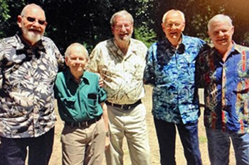The Watercolor Gang. From left: Finis Collins, Clay McGaughy, E. Gordon West, Lee Ricks, and Roy Murray. Photo courtesy of the Watercolor Gang.