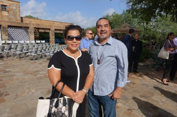 Councilwoman Rebecca Viagran (D3) and Ramon Vasquez, executive director of American Indians in Texas at the Spanish Colonial Mission, pose for a photo at the World Heritage Festival kick-off event.  Photo by Robert Rivard.