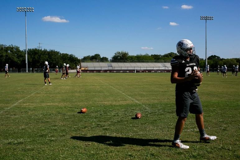 San Antonio Christian High School football team practices before a Friday game.