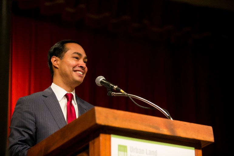 Secretary of Housing and Urban Development Julián Castro shares a laugh with the audience at the ULI Housing Luncheon.