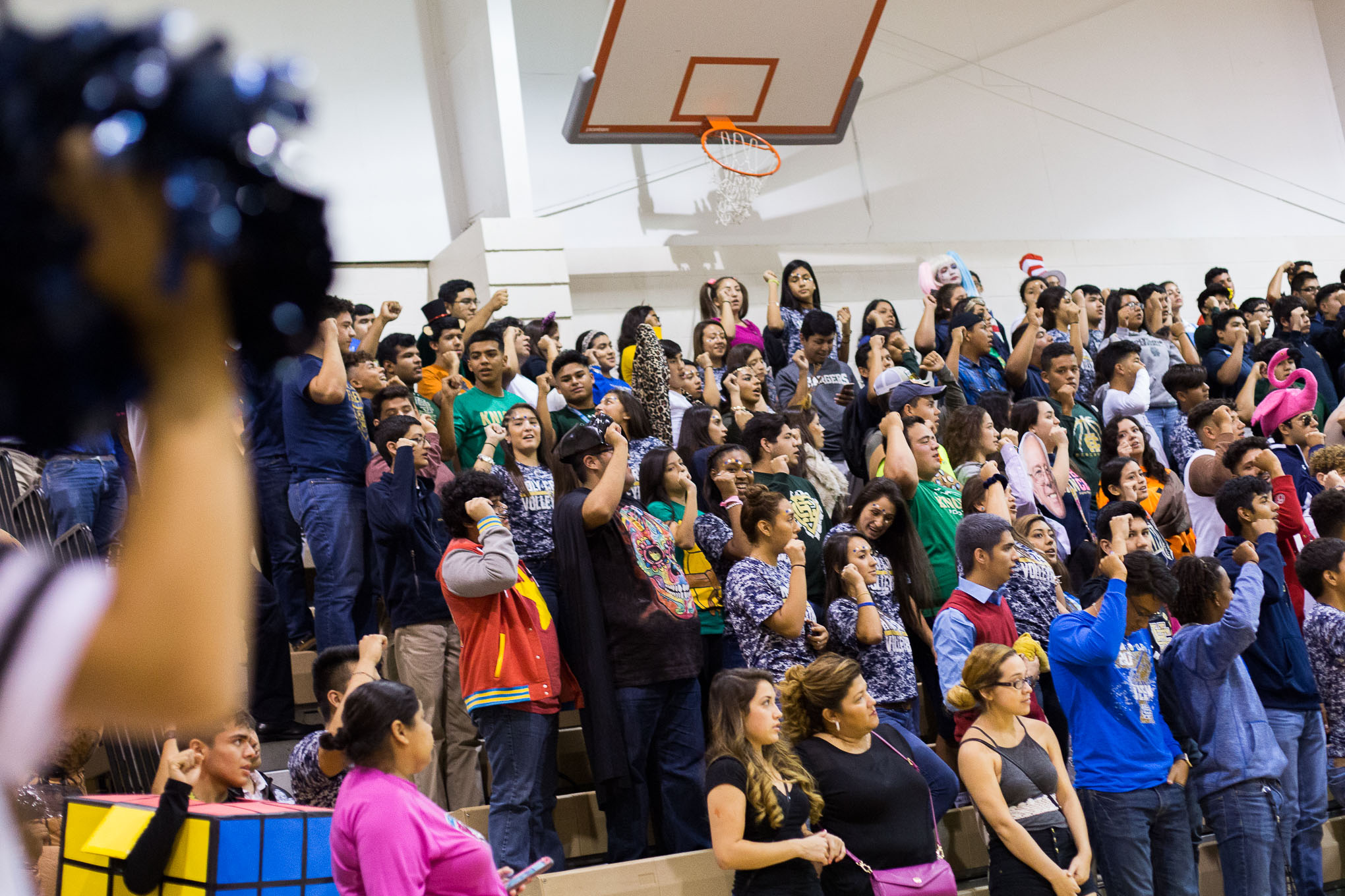 Joseph Pena cheers during a Halloween pep rally at school.