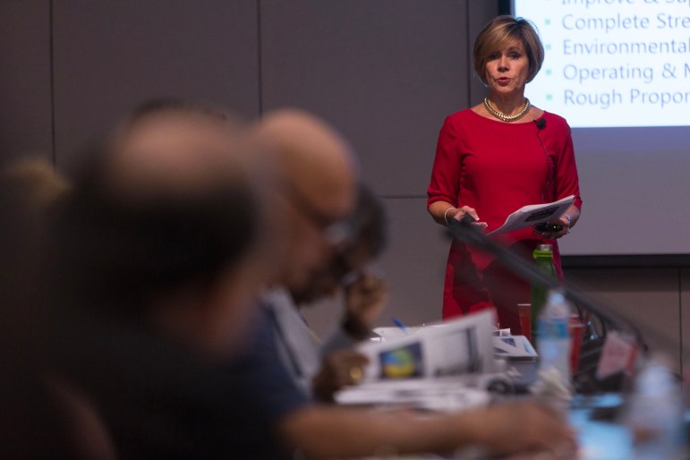 City Manager Sheryl Sculley discusses the key factors in the 2017-2022 bond. Photo by Scott Ball.