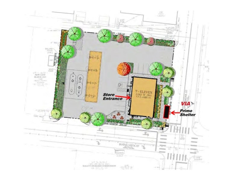 7 Eleven site plan for the former Malt House property including eight gas pumps, seating area, and VIA Primo bus stop.  Image courtesy of Kaufman Killen.