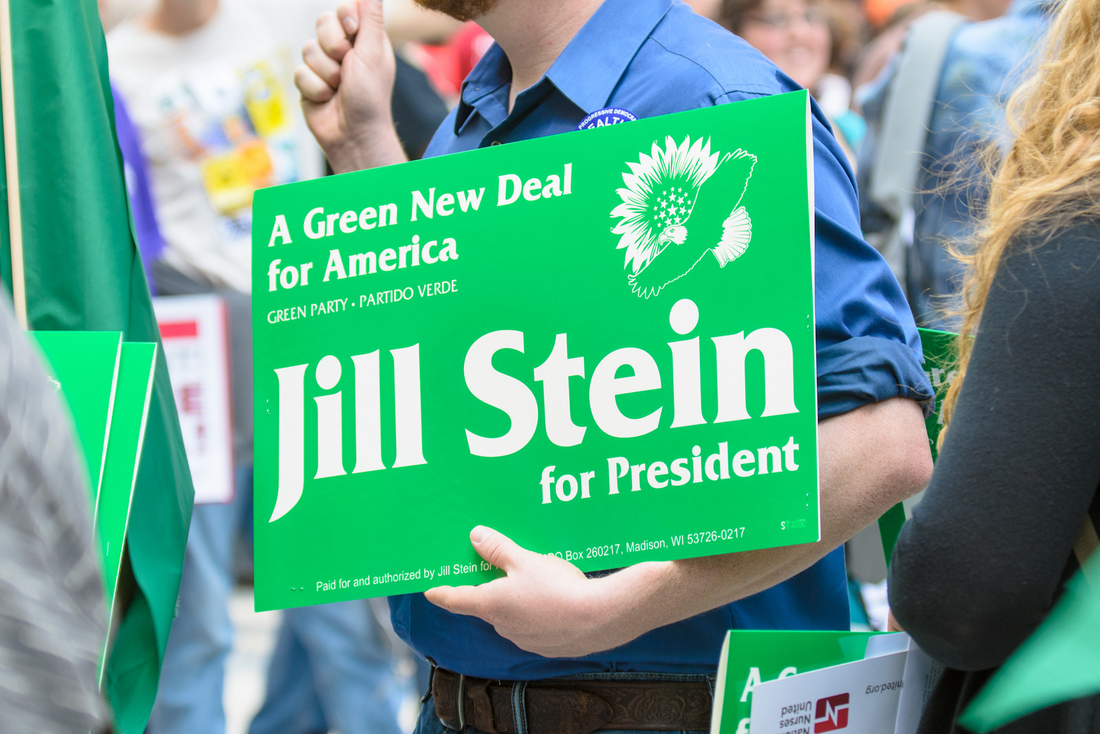A Jill Stein supporter at the Nurses Campaign to Heal the World rally at Daley Plaza as part of the 2012 N.A.T.O. Summit in Chicago.