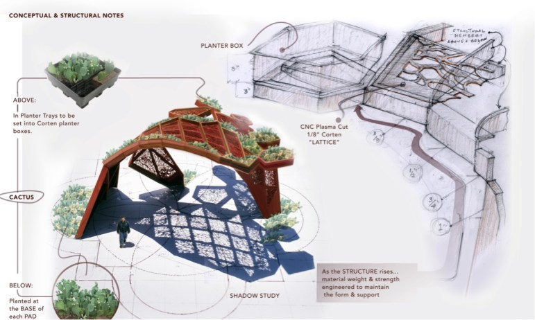 A rendering of the top view of CoCobijos, an art installation to be located on the Mission Reach near Mission County Park Pavilions.