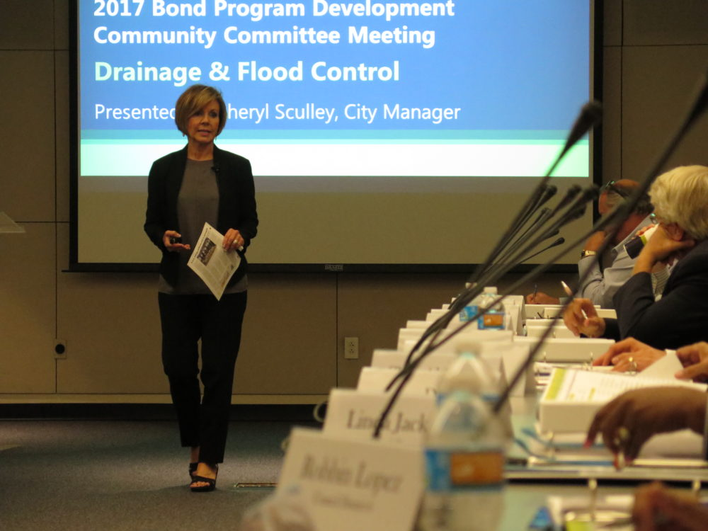 City Manager Sheryl Sculley explains the 2017 Bond process to the Drainage and Flood Control Committee.
