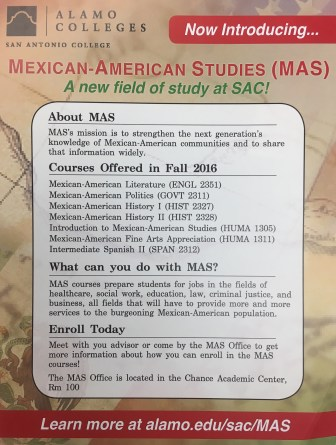 A list of MAS courses that can be found on the SAC catalog.