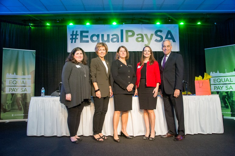 From left, Office of Speaker Joe Straus District Director Naomi Miller, City Manager Sheryl Sculley, Judge Laura Parker, Bracewell Partner Blakely Fernadnez, and Ogletree Deakins Of Counsel Charles Gonzalez pose after equal pay policy discussion.