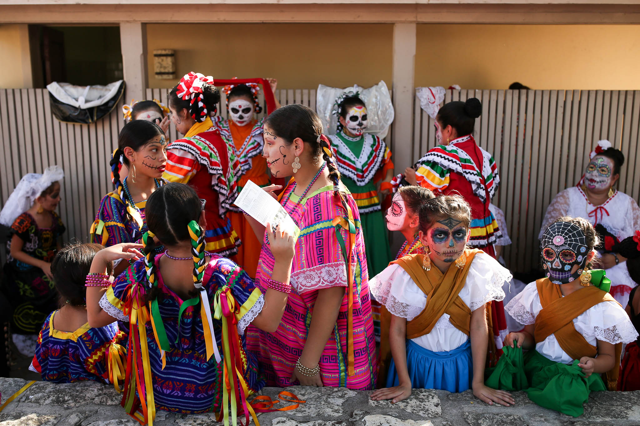 Performers prepare to go on stage at La Villita.