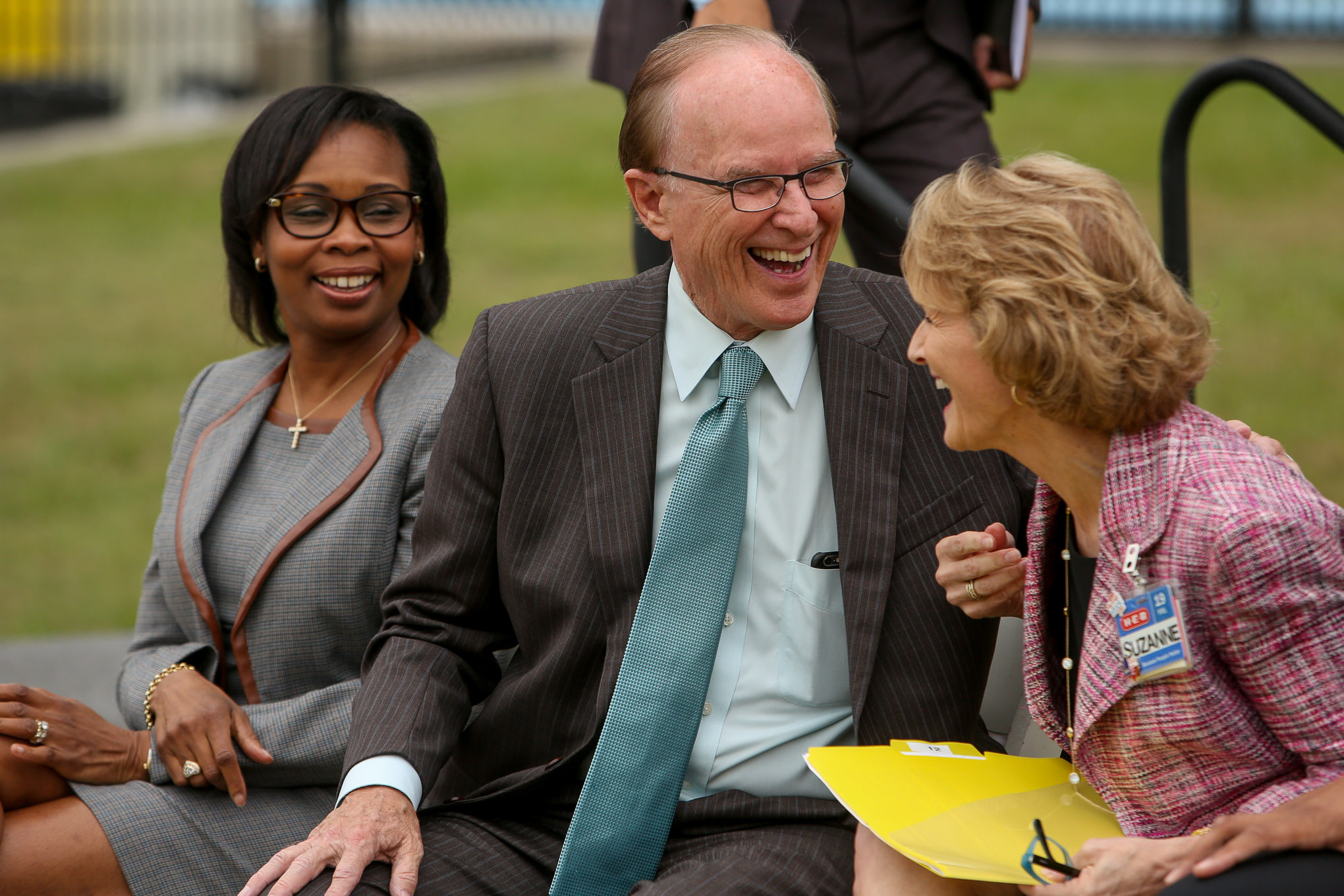 (from left) Mayor Ivy Taylor, Judge Nelson Wolff, and H-E-B Food and Drug Division President Suzanne Wade laugh following the press conference.