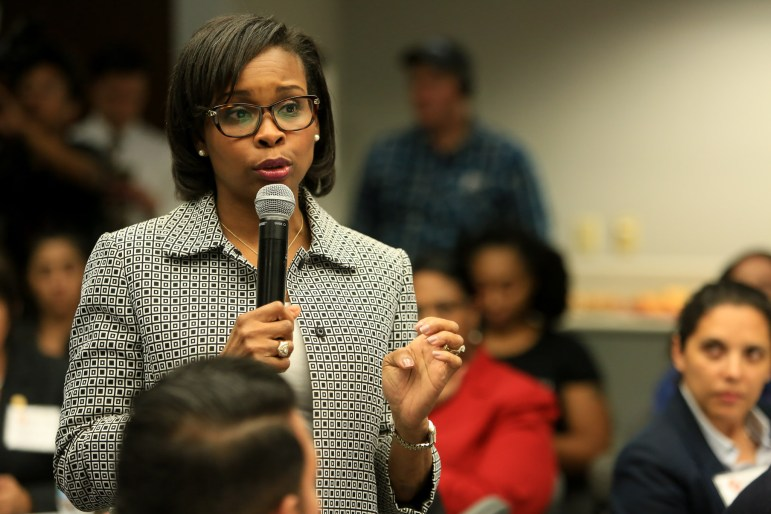 Mayor Ivy Taylor at community meeting in October 2016.