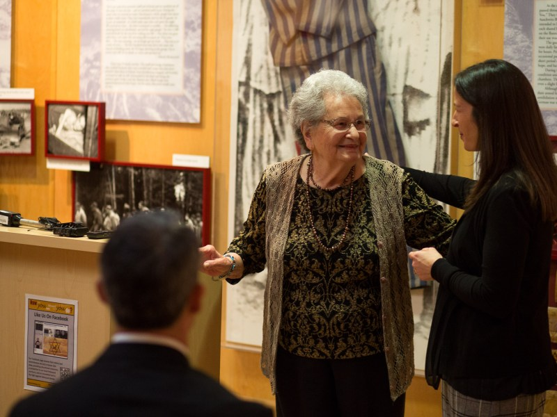 CEO of the Jewish Federation of San Antonio Ronit Sherwin hugs Holocaust survivor Anna Rado.
