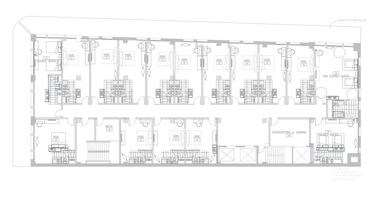 Floors 5, 6, 7, and 8 of the proposed hotel at the Burns-Penny Building.