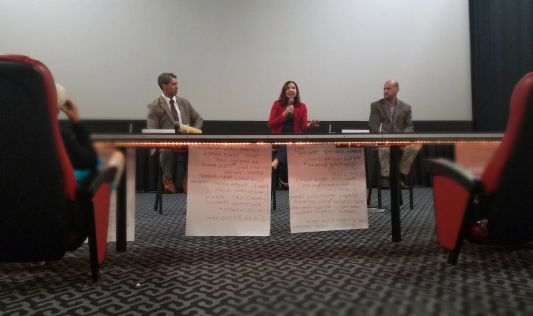 (From left) Councilman Ron Nirenberg (D8), atmospheric scientist Katharine Hayhoe, and the City's Chief Sustainability Officer Doug Melnick participate in a panel discussion on climate change after a private screening of Before the Flood.
