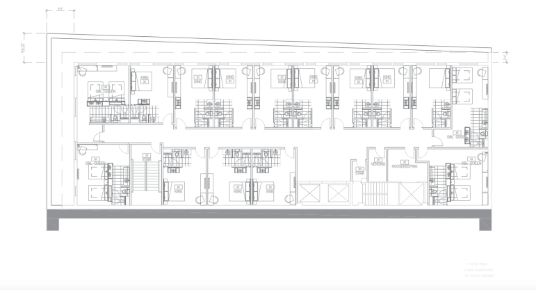 Floors 2, 3, and 4 of the proposed hotel at the Burns-Penny Building.