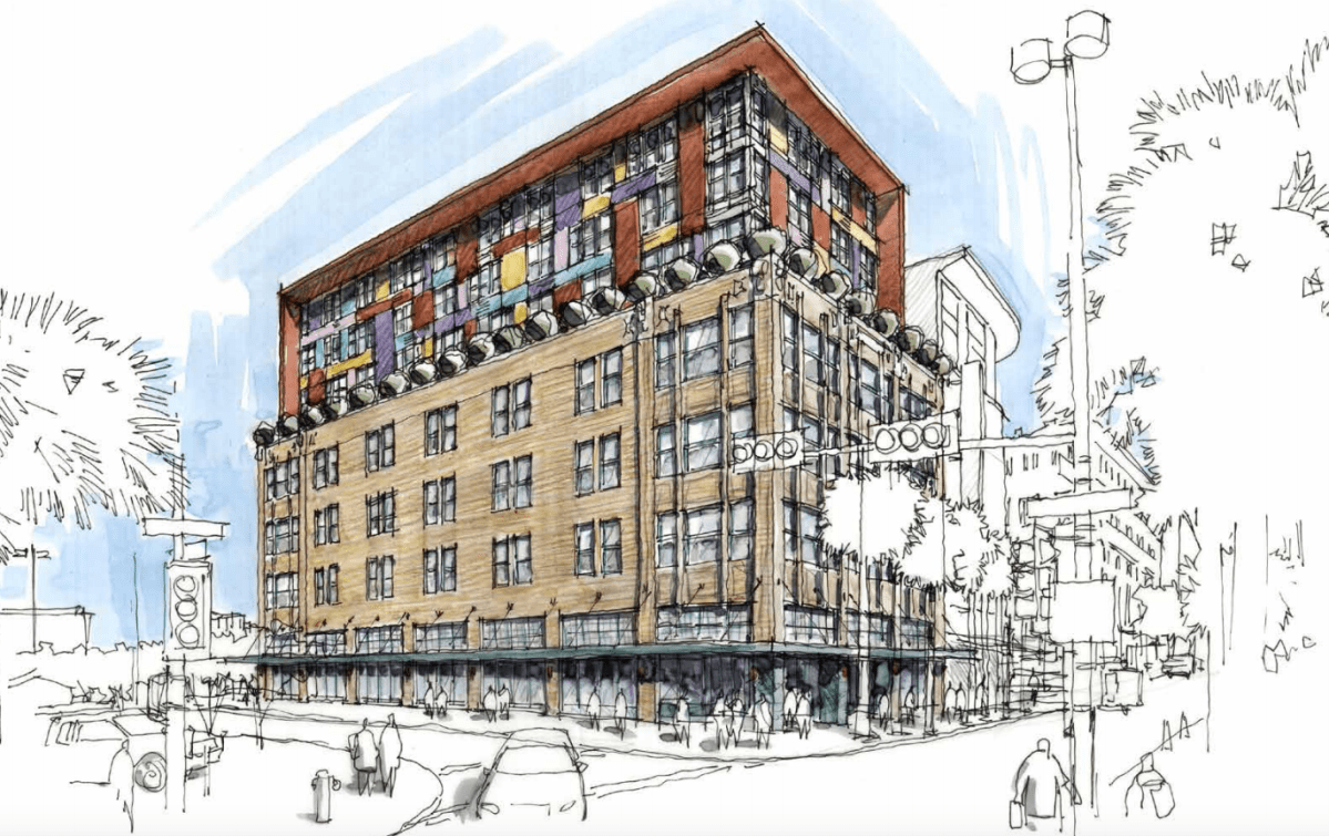 A rendering of the contemporary boutique hotel, designed by Alamo Architects, that will be located at the Burns Building.