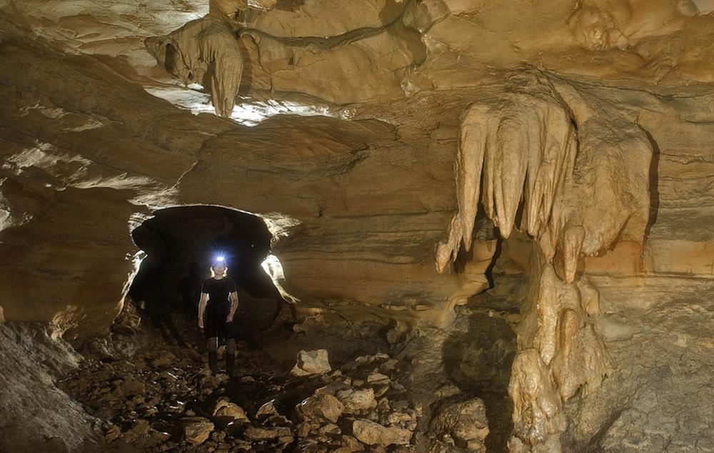 Caving inside the Seco Sinkhole. Image courtesy of the Edwards Aquifer Authority.
