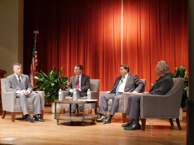 Northside ISD Superintendent Brian Woods, San Antonio ISD (SAISD) Superintendent Pedro Martinez, and North East ISD (NEISD) Superintendent Brian Gottardy, participate in a panel moderated by Rivard Report Director Robert Rivard on Oct. 6, 2016. Photo by Mary Flannigan for SAYL.