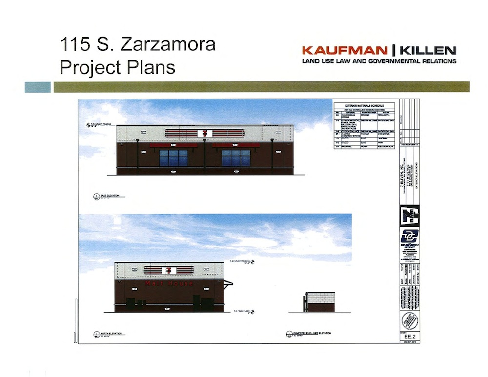 Side view of the proposed 7 Eleven that would replace Malt House, using its original sign. Image courtesy of