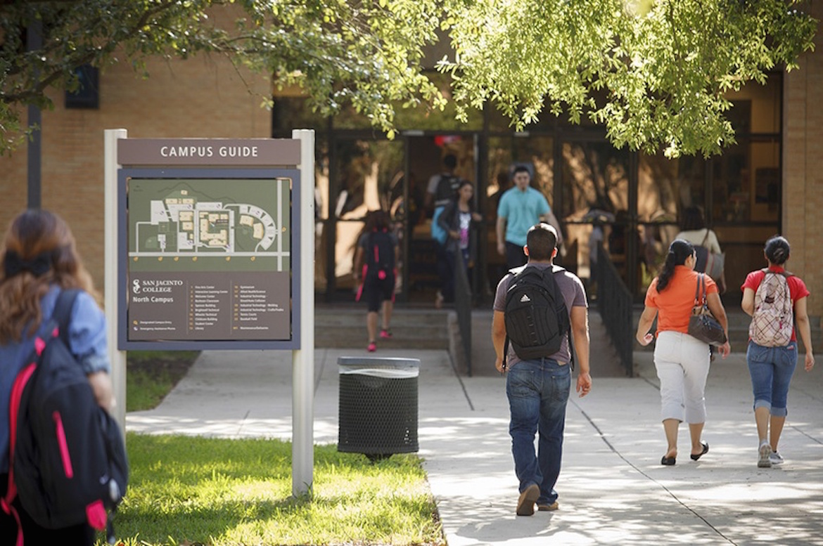 Universities across Texas are partnering with community colleges, such as San Jacinto Community College in Pasadena, to make it easier for students to transfer into four-year schools. Photo by Michael Stravato for the Texas Tribune.