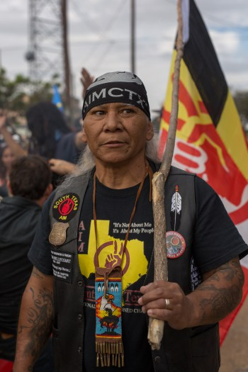 American Indian Movement member Pete Heflin is one of many American Indians representing AIM.