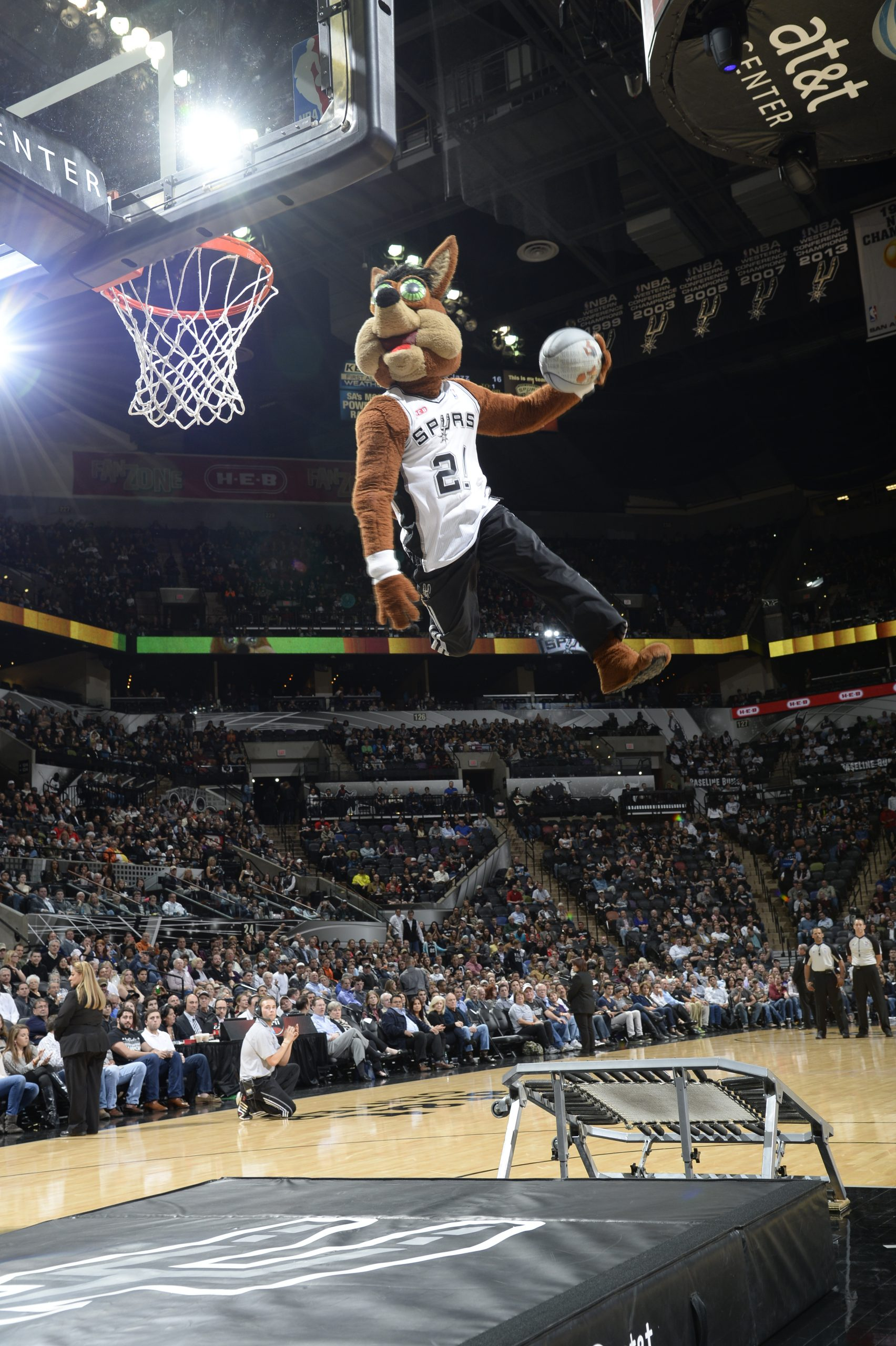 Rob Wicall (The Coyote) launches himself high in the air for his signature one armed dunk.